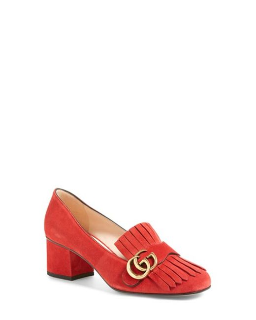 Gucci | Red Marmont Leather Pumps | Lyst