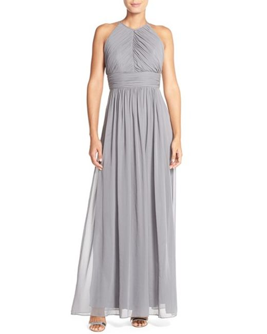 Dessy Collection | Gray Ruched Chiffon Open Back Halter Gown | Lyst