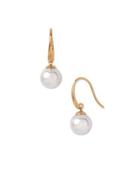 Majorica | White 10mm Pearl Drop Earrings | Lyst