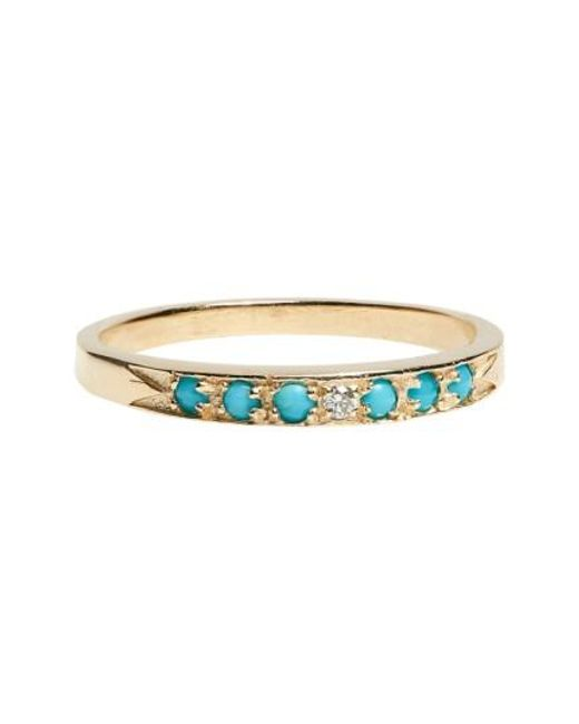 Mociun | Yellow 'moon & Stars' Single Band Turquoise & Diamond Ring | Lyst