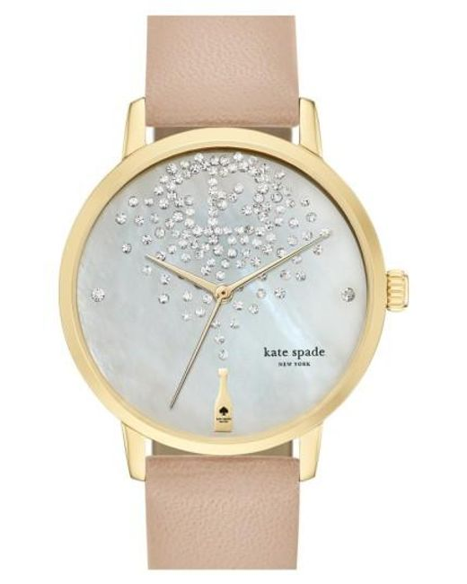 Kate Spade | Natural 'metro' Leather Strap Watch | Lyst
