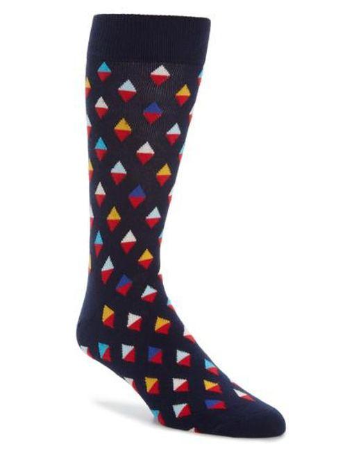Happy Socks   Blue Diamond Socks   Lyst