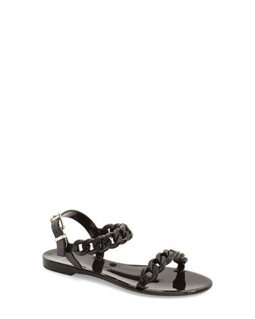 Givenchy | Black 'nea Chain' Logo Jelly Sandal | Lyst