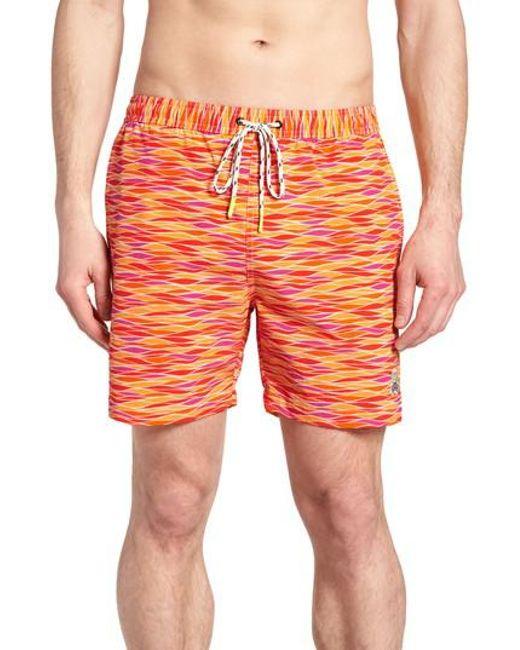 Psycho Bunny - Orange Printer Swim Trunks for Men - Lyst