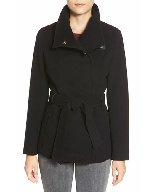 Cole Haan | Black Faux Leather Trim Belted Asymmetrical Coat | Lyst