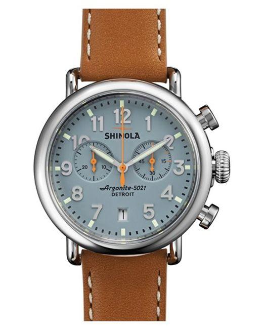 Shinola | Metallic 'the Runwell Chrono' Leather Strap Watch for Men | Lyst