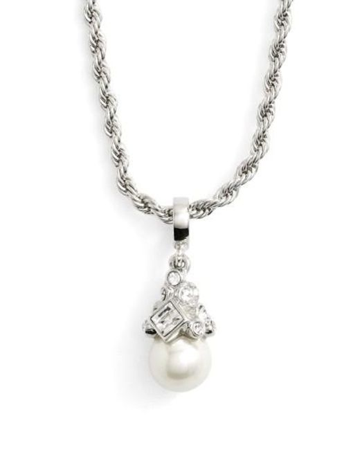 Givenchy | Metallic Imitation Pearl Pendant Necklace | Lyst