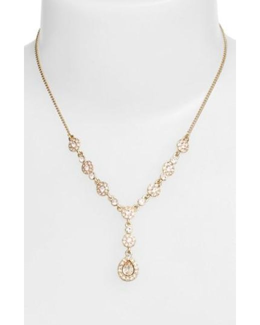 Givenchy | Metallic Pave Crystal Y-necklace | Lyst