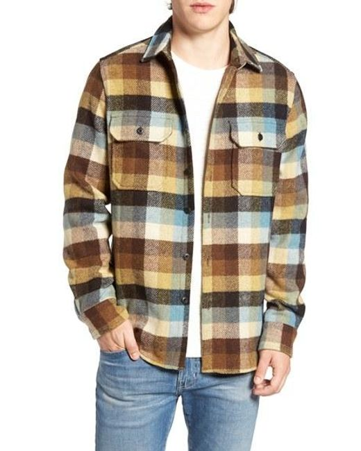 Woolrich buffalo plaid wool blend flannel shirt in red for for Mens wool flannel shirt