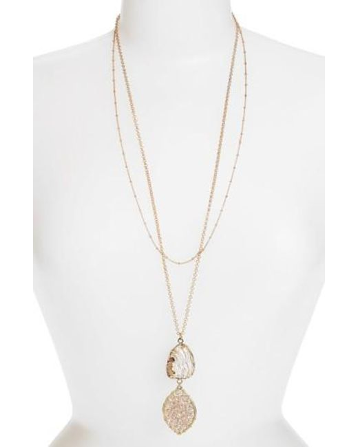 Panacea | Metallic Stone & Beaded Crystal Pendant Layered Necklace | Lyst