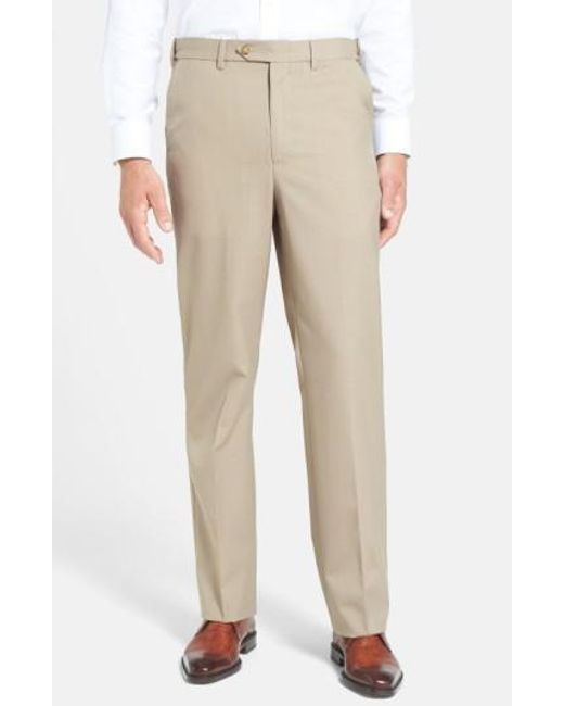 Berle - Brown Self Sizer Waist Tropical Weight Flat Front Trousers for Men - Lyst