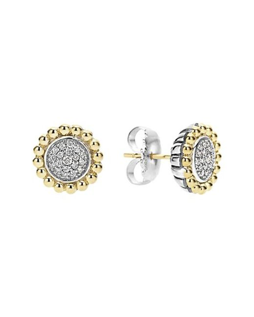 Lagos | Metallic Diamond Caviar Stud Earrings | Lyst