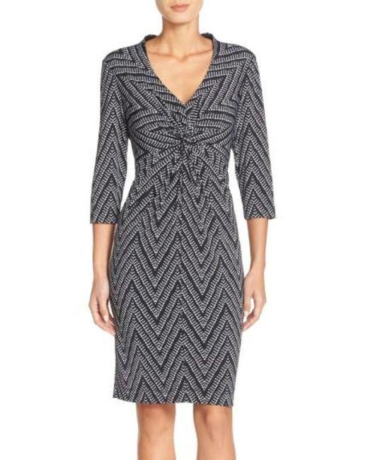 Donna Ricco | Black Print Jersey Sheath Dress | Lyst