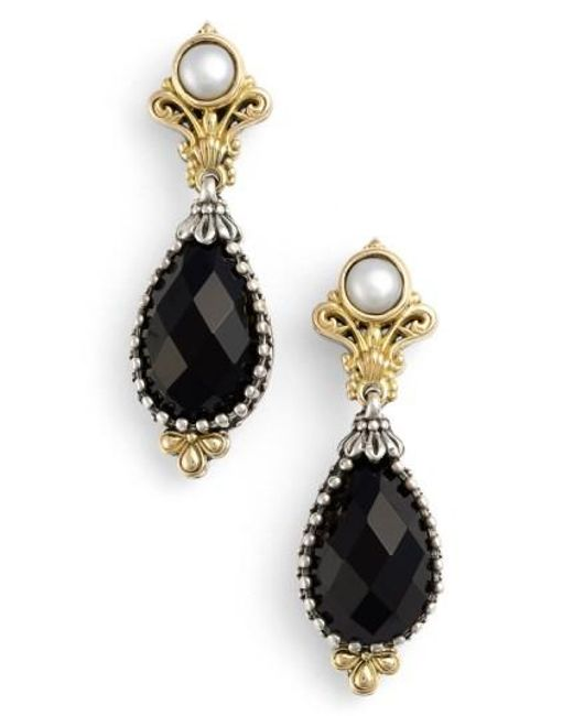 Konstantino   Metallic 'nykta' Pearl & Black Onyx Drop Earrings   Lyst