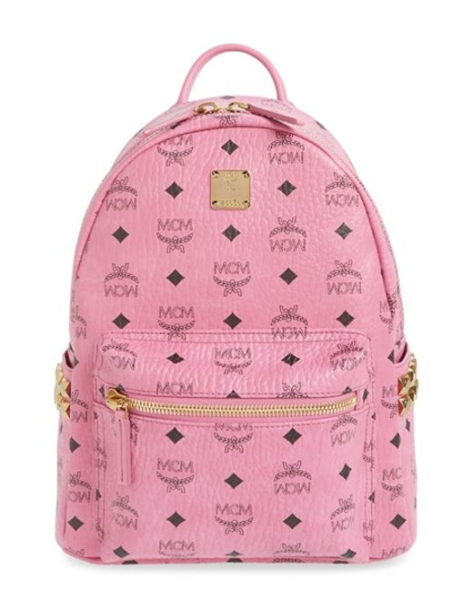 mcm small stark side stud backpack in pink lyst