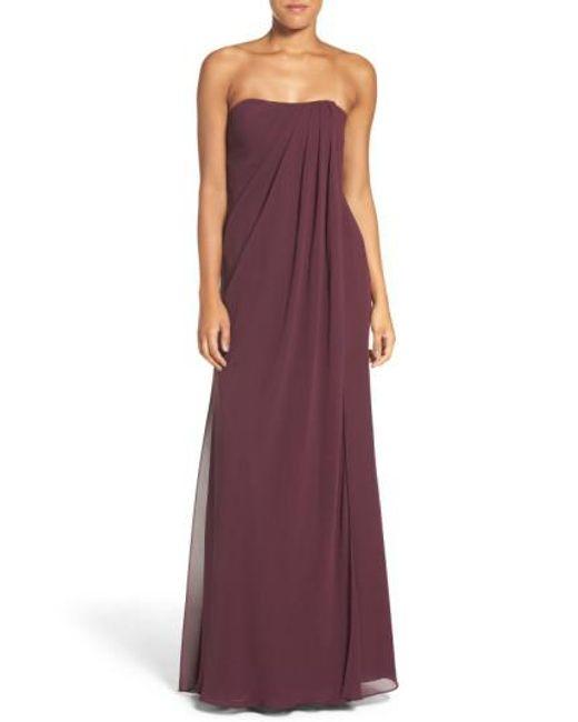 Jenny Yoo | Purple 'raquel' Front Slit Strapless Chiffon Gown | Lyst
