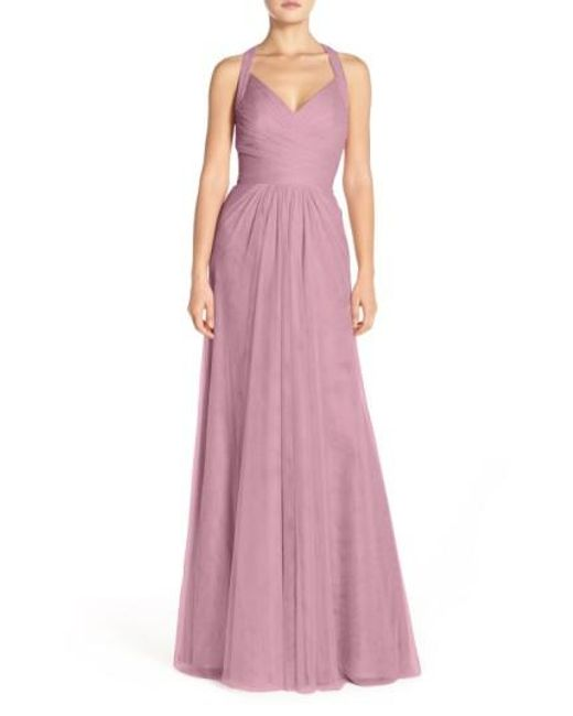 Monique Lhuillier Bridesmaids | Purple Pleated Tulle Gown | Lyst