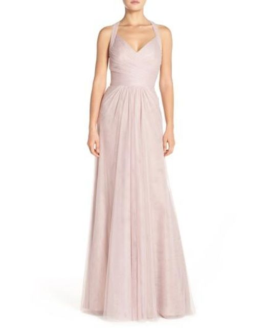 Monique Lhuillier Bridesmaids | Pink Sleeveless V-neck Tulle Gown | Lyst