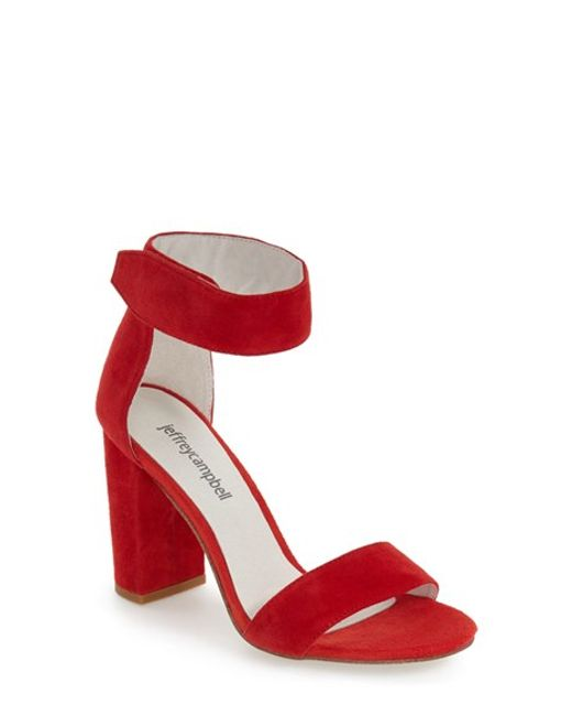 Jeffrey Campbell Lindsay Suede Ankle Strap Sandals In Red