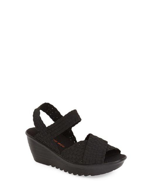 bernie mev buttercup woven wedge sandals in black black