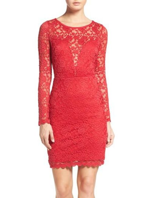 Fraiche By J | Red Lace Body-con Dress | Lyst