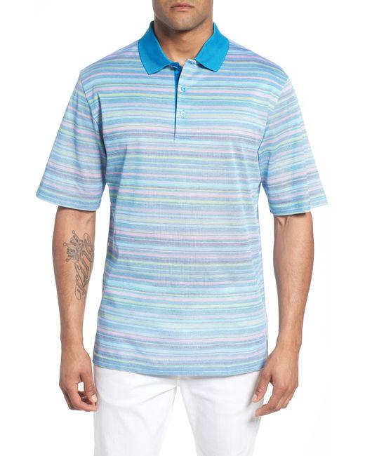 Bugatchi - Blue Stripe Mercerized Cotton Polo for Men - Lyst