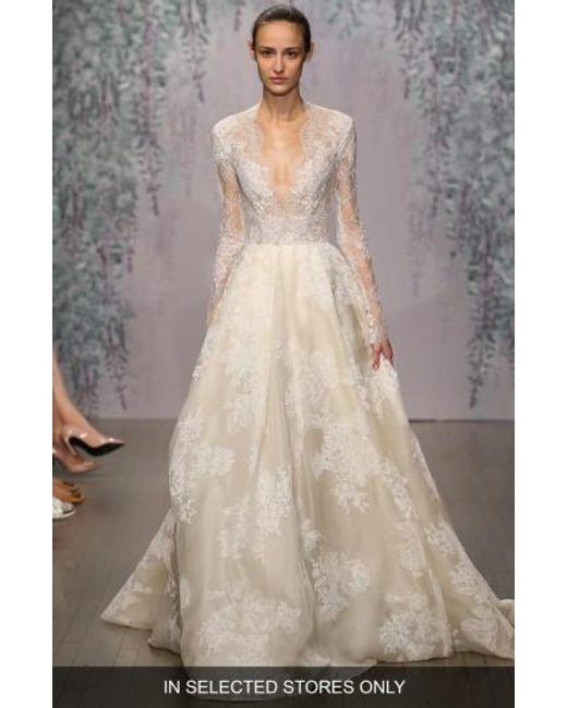 Monique Lhuillier | White 'winslet' Plunging V-neck Organza & Lace Ballgown Dress | Lyst