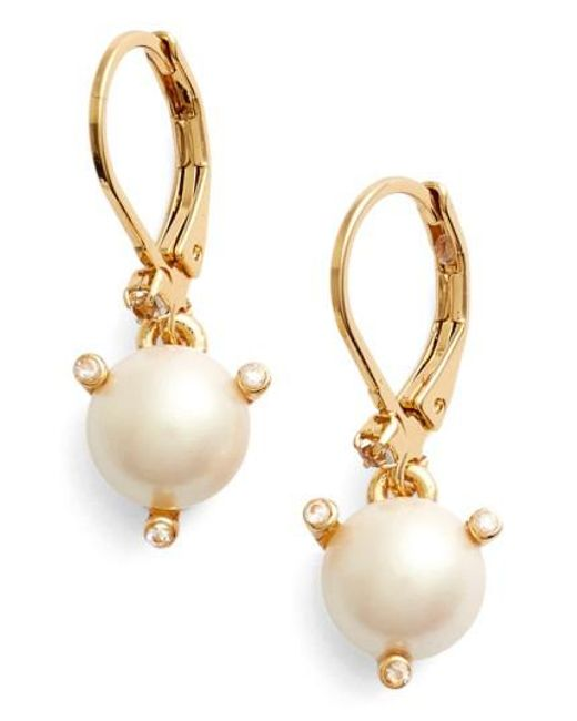 Kate Spade | Natural 'rise And Shine' Faux Pearl Lever Back Earrings | Lyst