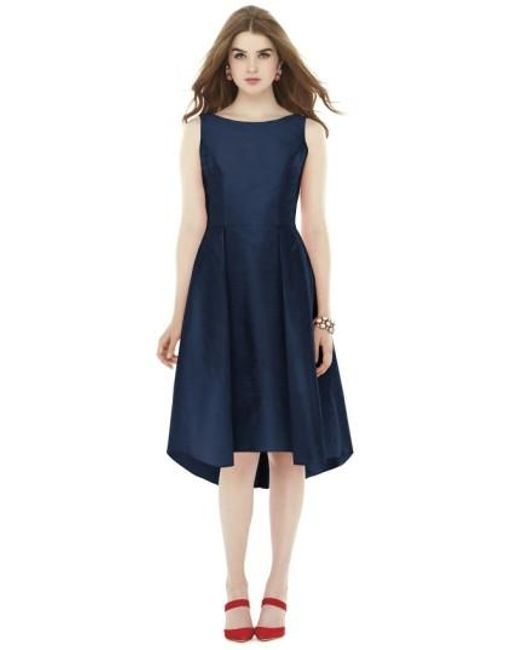 Alfred Sung | Blue Bow Back Dupioni Fit & Flare Midi Dress | Lyst