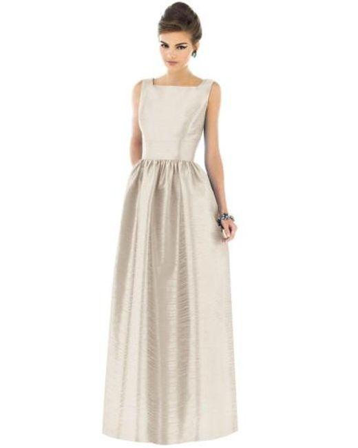 Alfred Sung | Metallic Square-Neck Dupioni Full-Length Dress | Lyst
