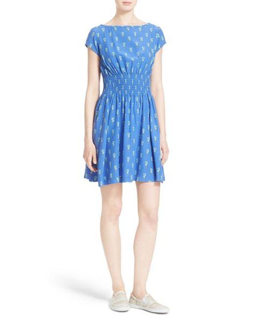 Kate Spade Seahorse Print Silk Dress In Blue Adventure