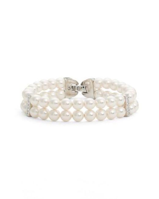 Nadri | White Double Row Imitation Pearl Bracelet | Lyst