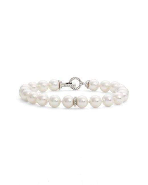 Nadri | White Single Row Imitation Pearl Bracelet | Lyst