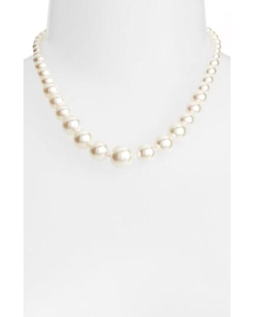 Nadri | White Graduated Imitation Pearl Necklace | Lyst