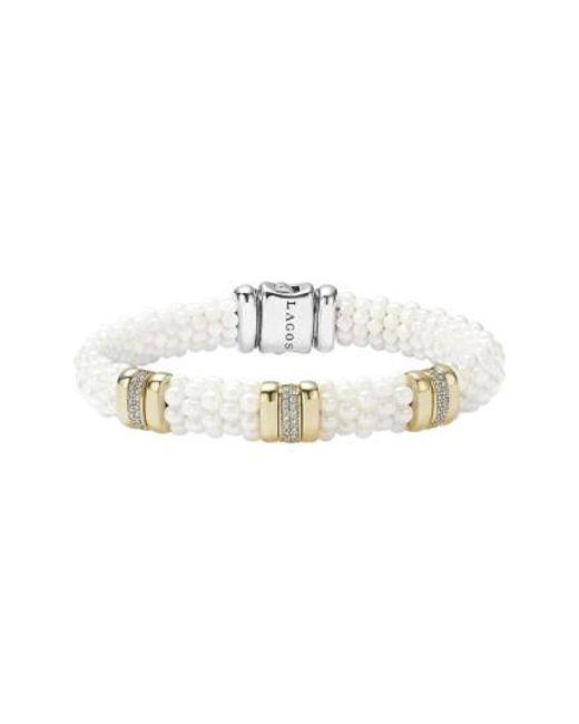 Lagos | Metallic 'white Caviar' Three Station Bracelet | Lyst