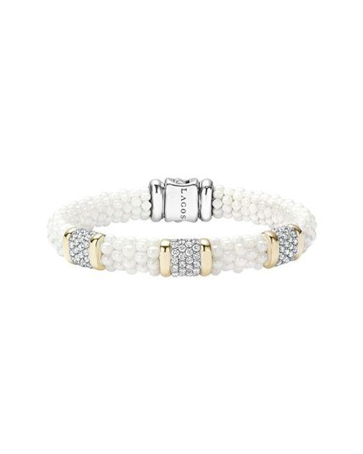Lagos | 'white Caviar' Three Station Diamond Bracelet | Lyst