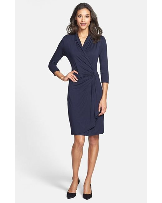 Karen Kane | Blue Cascade Faux Wrap Dress | Lyst