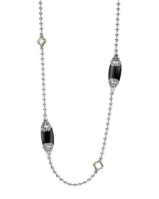 Lagos | Black 'caviar Color' Long Semiprecious Stone Station Necklace | Lyst