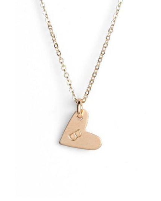 Nashelle | Metallic 14k-gold Fill Initial Mini Heart Pendant Necklace | Lyst