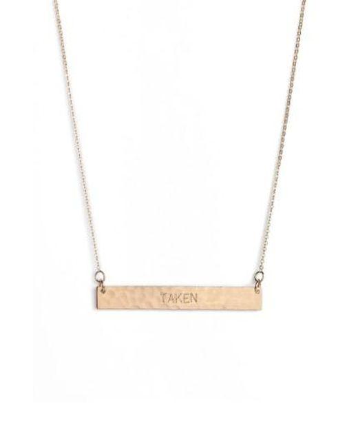 Nashelle | Metallic 14k-gold Fill Stamped Bar Pendant Necklace | Lyst