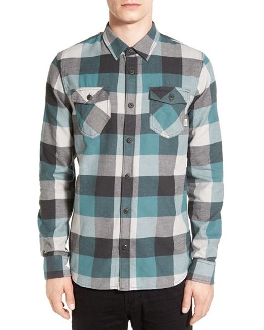 Vans trim fit check flannel woven shirt in blue for men for Trim fit flannel shirts