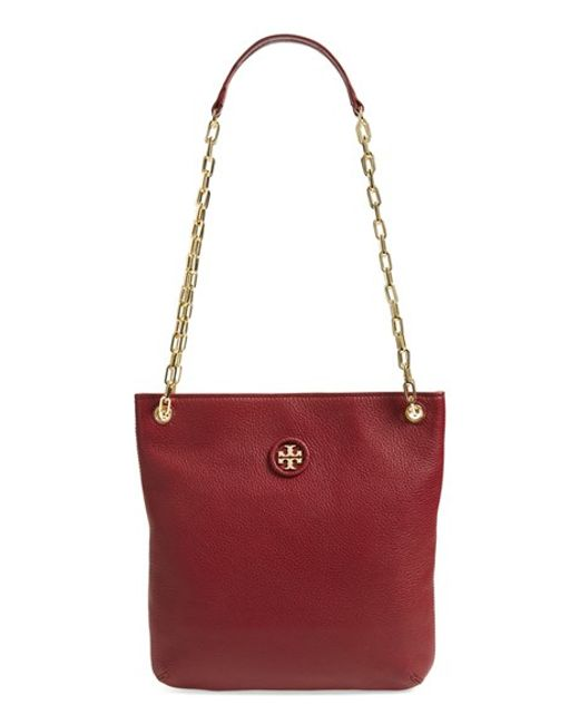 tory burch convertible leather crossbody bag in red red