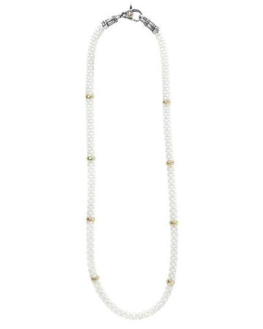 Lagos | Metallic 'white Caviar' 5mm Beaded Station Necklace | Lyst