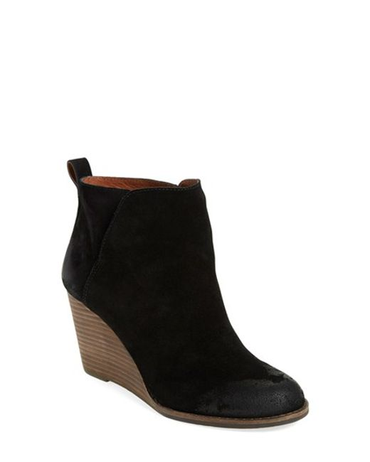 lucky brand yezzah suede wedge boots in black lyst