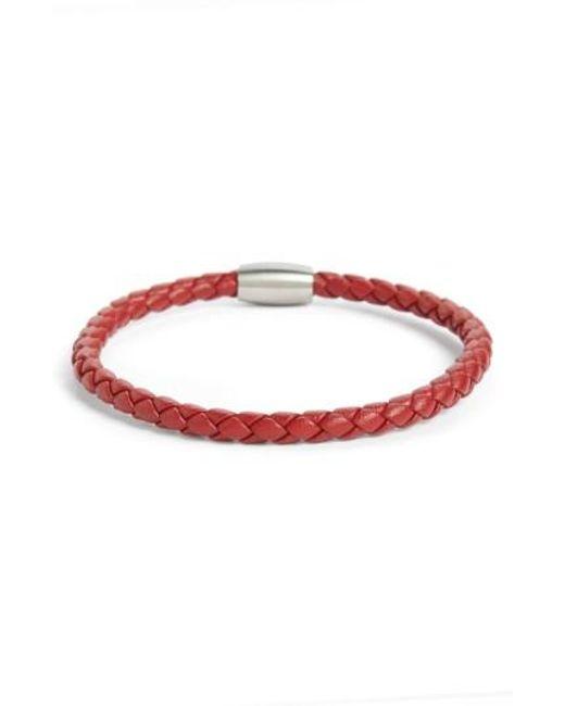 Link Up | Red Woven Leather Bracelet for Men | Lyst