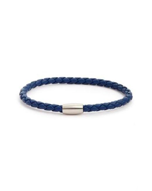 Link Up | Blue Woven Leather Bracelet for Men | Lyst