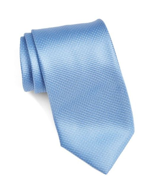 Canali | Blue Solid Silk Tie for Men | Lyst