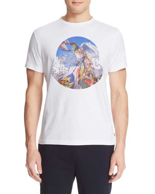 Moncler 39 tibetan flags 39 graphic t shirt in white for men for Off white moncler t shirt