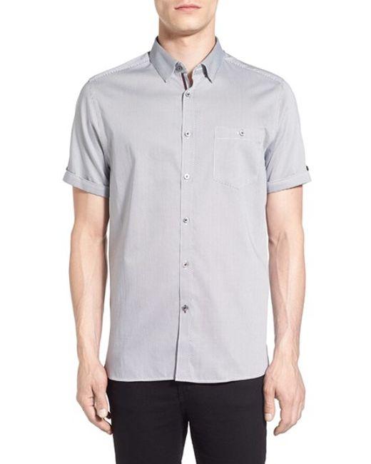 Ted Baker | Blue Newcool Modern Slim Fit Print Short Sleeve Sport Shirt for Men | Lyst