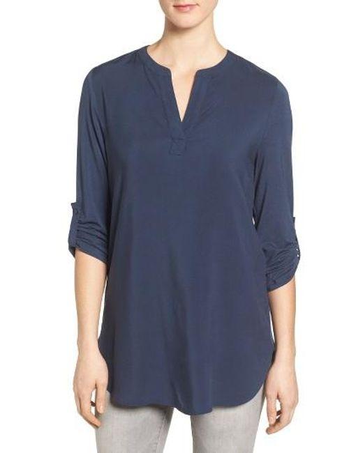 Pleione | Blue Split Neck Roll Sleeve Tunic | Lyst